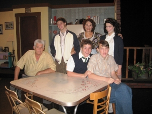 Alice Nierenberg, middle back row, acting in 'Over the Tavern' a community play during the summer of 2011.