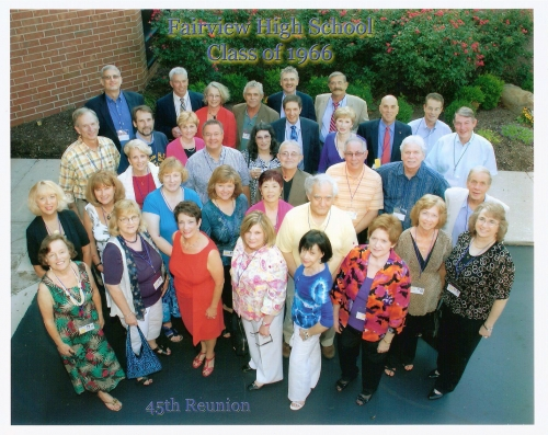 45th reunion group photo, using maiden names only. Front Row: Arlene Calico Gates (faculty), Joyce Shaw, Susie Harris, C
