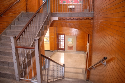Remember running to your next class up these steps? This is the center stairwell of Fairview High School facing Hillcres
