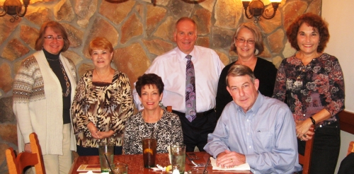 Class of '66 lunch at Olive Garden on Friday, October 26, 2012. Standing are Mary Nancy Smith, Connie Williams, David W