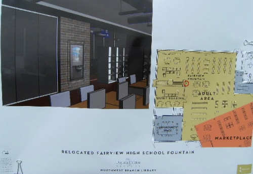 Architect plans for installation location of the Fairview Longnecker-Folger Fountain. See the brick wall area in the roo