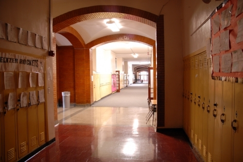 Photos by Bob Hauff, FHS Class of 1963. The photo shows the first floor Hillcrest hallway heading toward the Philadelphi