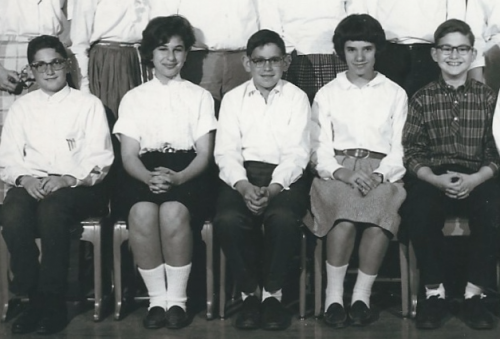 David shown in the center of this cropped 8th grade Cornell Heights class photo. Shown are: Elliot Allen, Phyllis Teplit