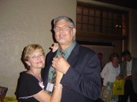 Marti Hoover Kistner and Bill Kistner dancing the night                            away. The music was brought to us by