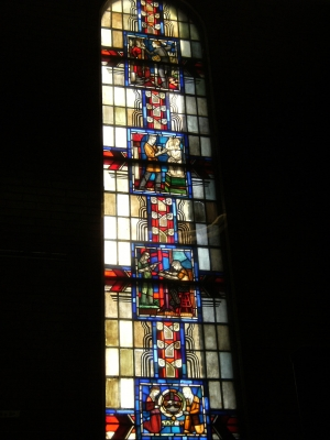 1938 Metcalf Art Deco style stained glass window