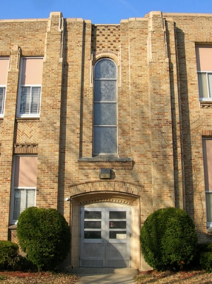 Exterior of FHS showing the World War II window by local artists Robert and Gertrude Metcalf.