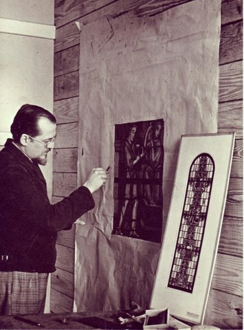 Master stained glass artist, Robert Marion Metcalf working on the Art Deco full size drawing from the sketch of the wind