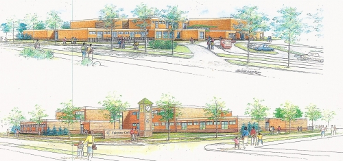 The new Fairview Commons PK-8 grade school located at Hillcrest and Elsmere. (rendering by R.P. Madison International In
