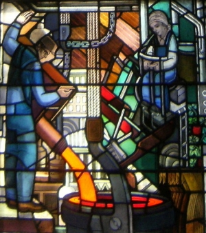 Detail of a section of the World War II window created by Robert and Gertrude Metcalf.