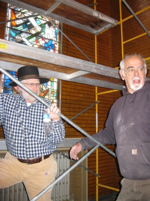Al Donaldson, FHS '65, and Bob Mousaian, FHS '62. Bob was assisting with removal of the window. Committee members Al D