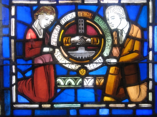 Above is a section of the Art Deco style stained glass window by Robert and Gertrude Metcalf, showing our Fairview High
