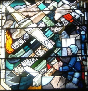 Detail of a section of the World War II stained glass window created by Robert and Gertrude Metcalf.