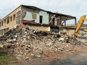 September 16, 2011. On this day the actual demolition began. Photo courtesy of Dennis Huddleston, FHS Class of '65.