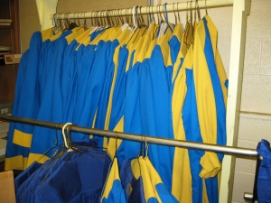 Choir robes were left hanging.
