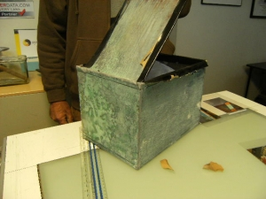 The Fairview Time Capsule was tightly sealed and constructed  of copper and tinned on the inside. Cutting the seal on th