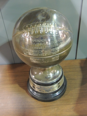 Fairview 1936 is listed on this basketball trophy.  Photo Dennis Huddleston, Class of 1965.