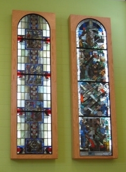 Metcalf stained glass as displayed in the lobby of the new Fairview PreK-8 School.