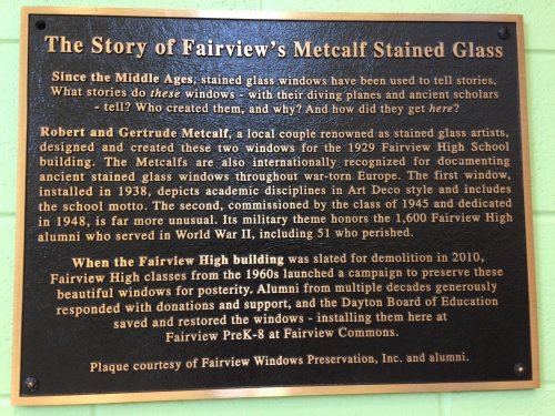 Bronze plaque purchased to be displayed with the Metcalf stained glass in the new Fairview PreK-8 School and accompany t